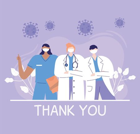 thank you doctors and nurses, physicians and nurse staff hospital team 矢量图像