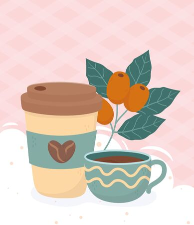 coffee time, takeaway cup and coffee cup beans leaves fresh beverage vector illustration