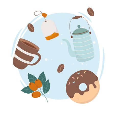 coffee time, coffee cup teapot tea bag and donut fresh beverage vector illustration Çizim