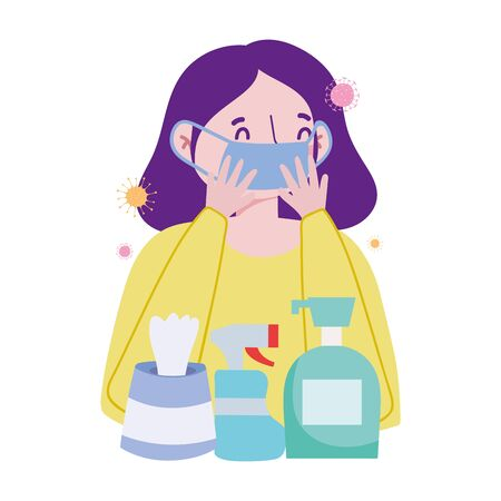 Woman with mask soap bottle spray and tissues box vector design Çizim