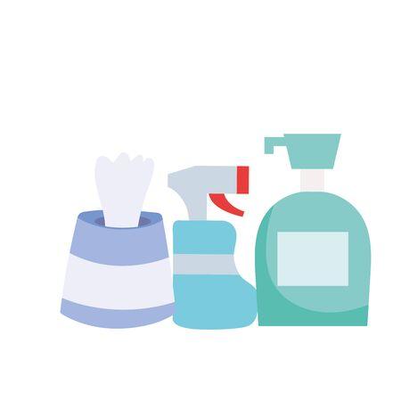 Spray bottle soap dispenser and tissues box vector design Çizim