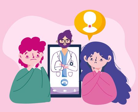 Woman man avatar with doctor and smartphone vector design
