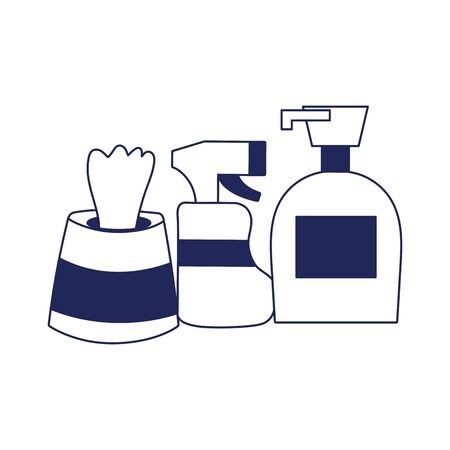 Spray bottle soap dispenser and tissues box design, Cleaning service wash home hygiene equipment domestic interior housework and housekeeping theme Vector illustration