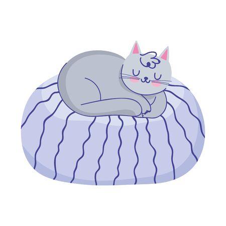 pet cat resting on cushion isolated icon white background vector illustration Illustration