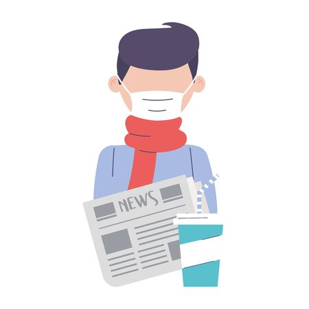 covid 19 quarantine, man wear medical mask scarf with newspaper and disposable cup vector illustration