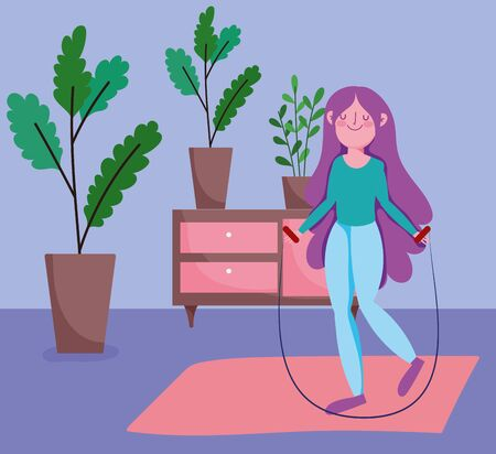 happy girl with jump rope with potted plants in the room, exercises at home Illustration
