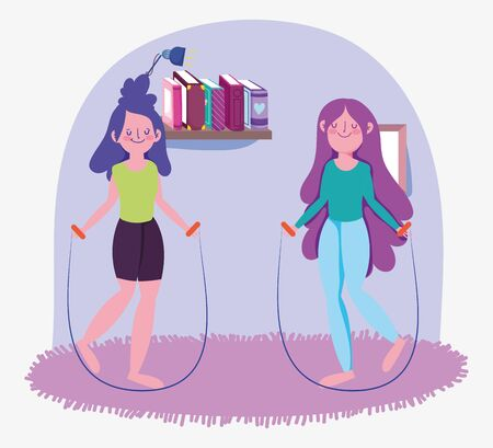 smiling girls with jump rope in the room, exercises at home
