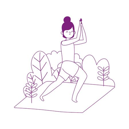 young woman practicing yoga in mat isolated icon white background Illustration