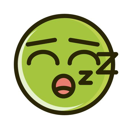 sleeping funny smiley emoticon face expression vector illustration line and fill icon