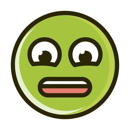 anguished funny smiley emoticon face expression vector illustration line and fill icon Ilustración de vector