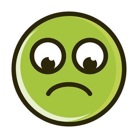 sad funny smiley emoticon face expression vector illustration line and fill icon