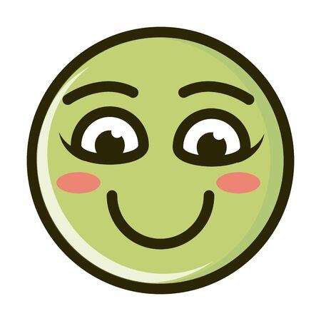 funny smiley emoticon face expression vector illustration line and fill icon