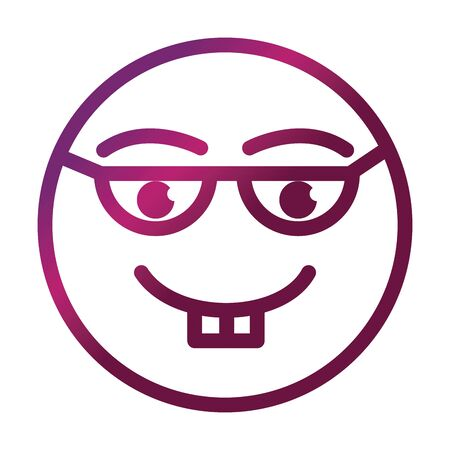 nerd funny smiley emoticon face expression gradient style icon Illustration