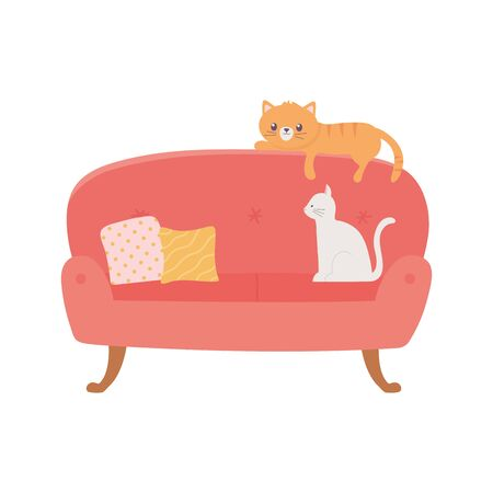 stay at home, sofa with cats and cushions isolated design