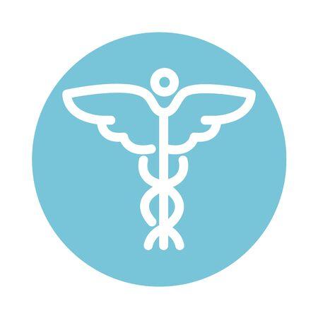 caduceus medical symbol health care block style icon