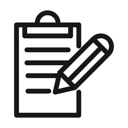 clipboard pencil writing report vector illustration line style icon Foto de archivo