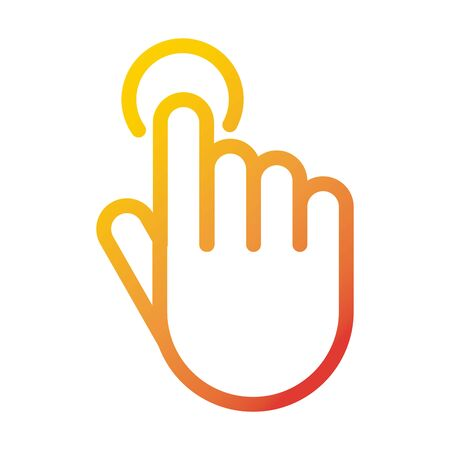 hand touching button internet web technology interface vector illustration gradient style icon 写真素材