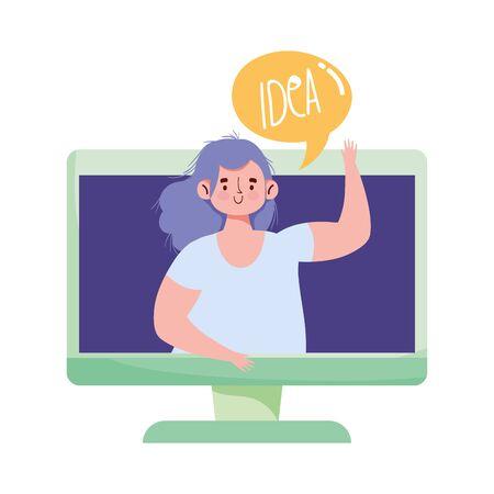 creativity people, computer woman speech bubble idea isolated icon design vector illustration