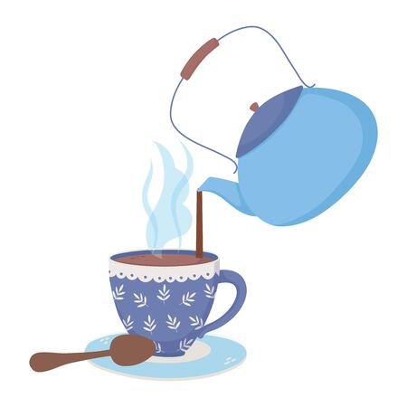 coffee time, kettle pouring in cup spoon fresh beverage vector illustration