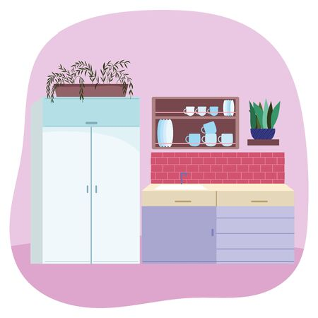 kitchen interior sink furniture drawers tableware and potted plants design vector illustration