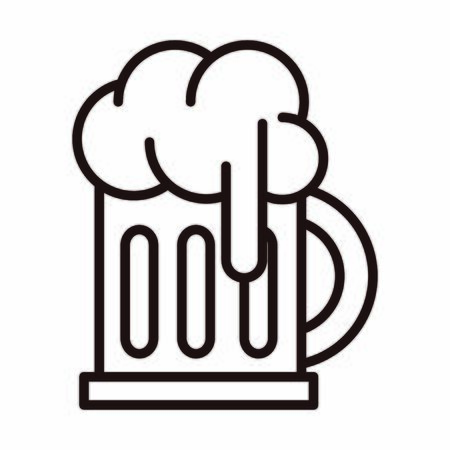 beer glass foam drink celebration vector illustration line style icon Stock Illustratie