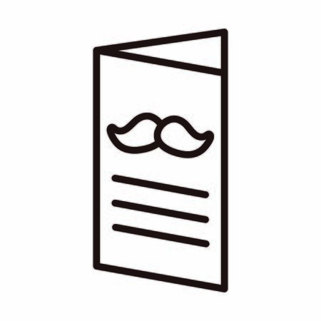 happy fathers day, brochure moustache celebration vector illustration line style icon