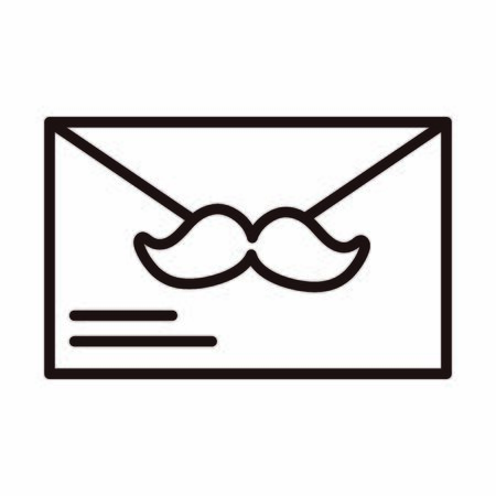 happy fathers day, mail envelope message moustache celebration vector illustration line style icon Stock Illustratie