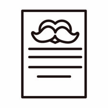 happy fathers day, letter moustache love decoration celebration vector illustration line style icon