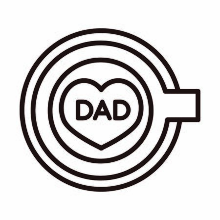 happy fathers day, top view coffee cup dad lettering celebration vector illustration line style icon