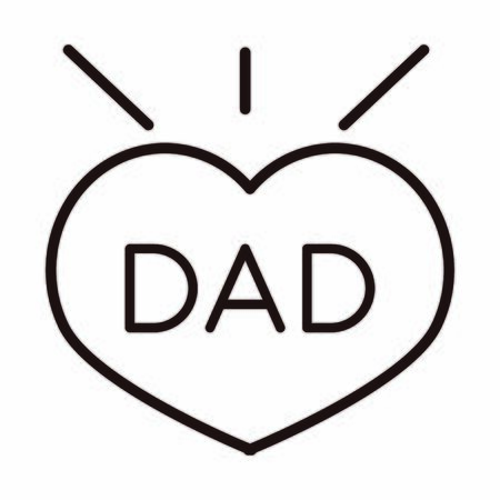 happy fathers day, dad inscription heart love celebration vector illustration line style icon