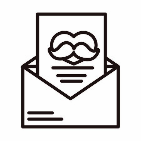 happy fathers day, mail envelope letter moustache celebration vector illustration line style icon