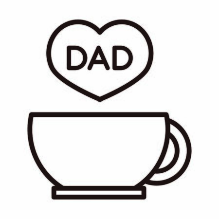 happy fathers day, coffee cup heart dad love celebration vector illustration line style icon