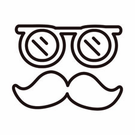 glasses and moustache retro celebration vector illustration line style icon Stock Illustratie