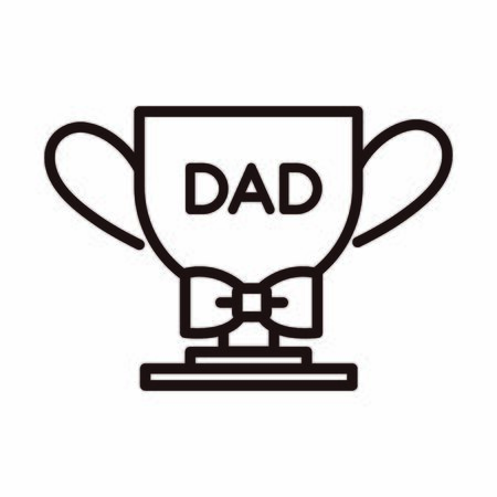 happy fathers day, trophy award bowtie decoration celebration vector illustration line style icon