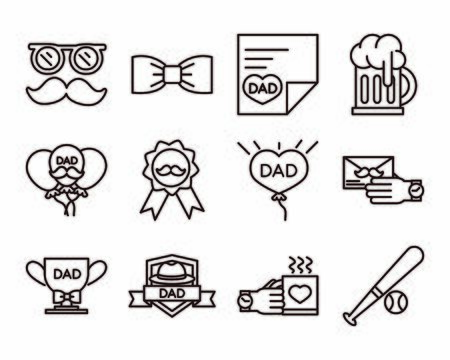 happy fathers day, celebration accessories message decoration party icon set vector illustration line style icon Stock Illustratie