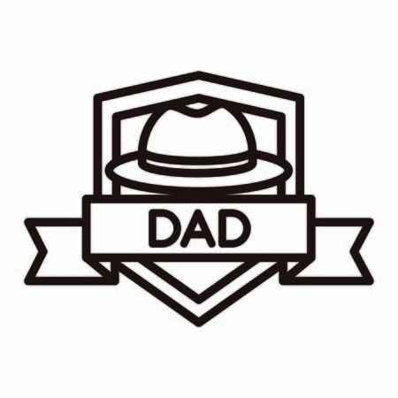 happy fathers day, hat ribbon badge decoration celebration vector illustration line style icon Stock Illustratie