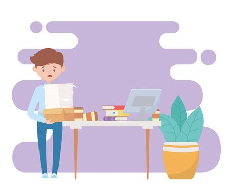 stress at work, frustrated worker with many documents desk with laptop books vector illustration