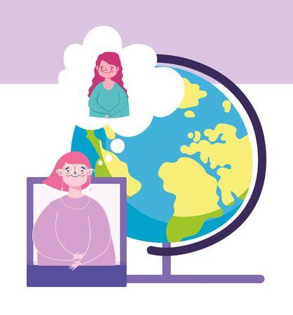 online education, teacher and student girl smartphone school globe vector illustration