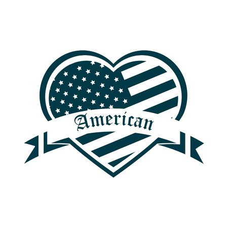 happy independence day, american flag shaped heart ribbon design vector illustration silhouette style icon