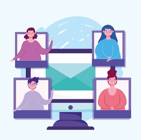 online education, computer smartphone devices people class connection vector illustration