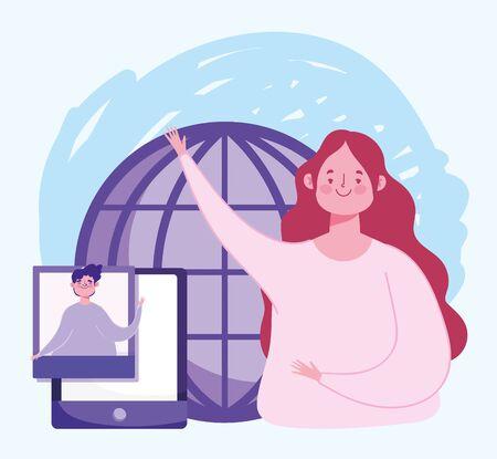 online education, teacher smartphone world lesson design vector illustration