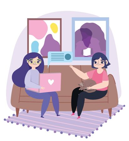 working remotely, young women with laptop and girl with cat on sofa vector illustration