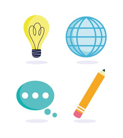 online education, world pencil idea creativity talk bubble icons vector illustration Иллюстрация