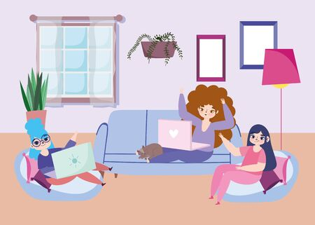 working remotely, group women in the living room on sofa and bean chairs with laptops vector illustration