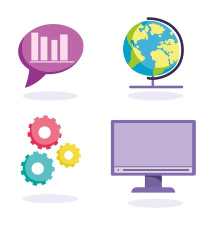 online education, world computer statistics lesson icons Иллюстрация