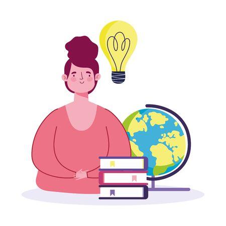 online education, teacher with school globe books idea cartoon vector illustration Illusztráció