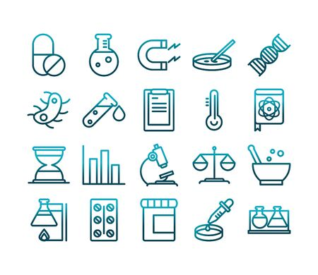 science and research laboratory study icons collection vector illustration gradient style icon
