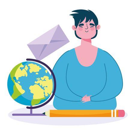 online education, teacher man school globe envelope and pencil vector illustration