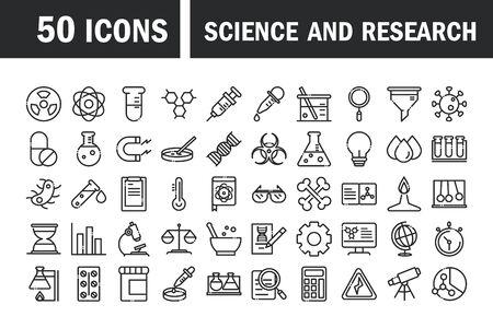 Wissenschaft und Forschung Labor Studie Symbole Sammlung Vektor-Illustration Linienstil Symbol Vektorgrafik