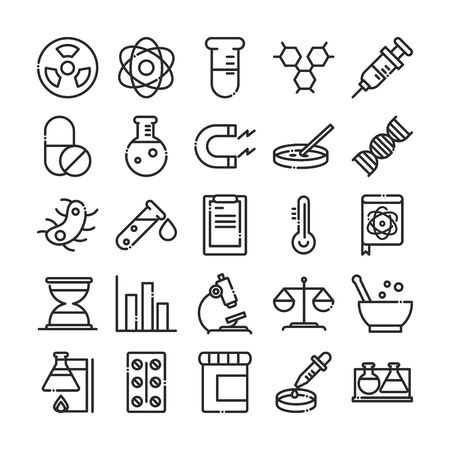 science and research laboratory study icons collection vector illustration line style icon